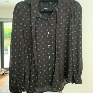 Nordstrom Black blouse with red and yellow design